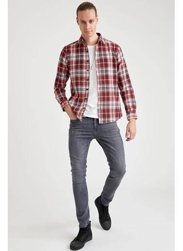 DeFacto Slim Fit Uzun Kollu Ekose Oduncu Gömlek Kırmızı